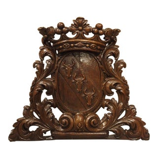 19th Century Antique Carved Oak Armorial Bull Heads Plaque For Sale