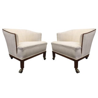 Mid-Century Modern Walnut Upholstered Lounge Chairs