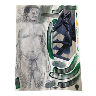 "1990s ""Plan A. Plan B."" Male Nude Painting and Collage by James Bone For Sale"