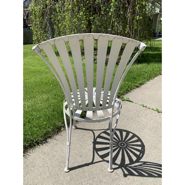 Mid 20th Century Vintage Mid Century French Francois Carre Sunburst Garden Chairs- Set of 4 For Sale - Image 5 of 11