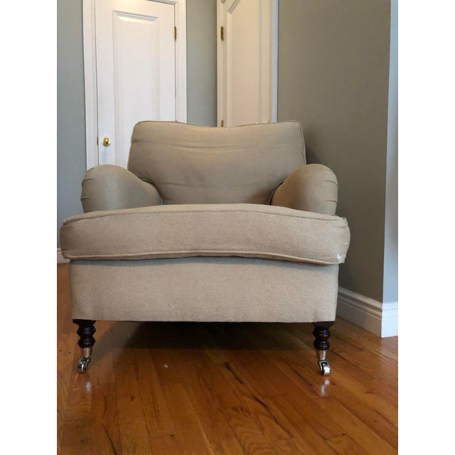 Wood George Smith Linen/Down Arm Chair For Sale - Image 7 of 8