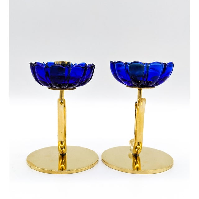 Metal 1950s Mid-Century Swedish Gunnar Ander for Ystad-Metall Cobalt Blue Glass Flower & Brass Candleholders - a Pair For Sale - Image 7 of 12