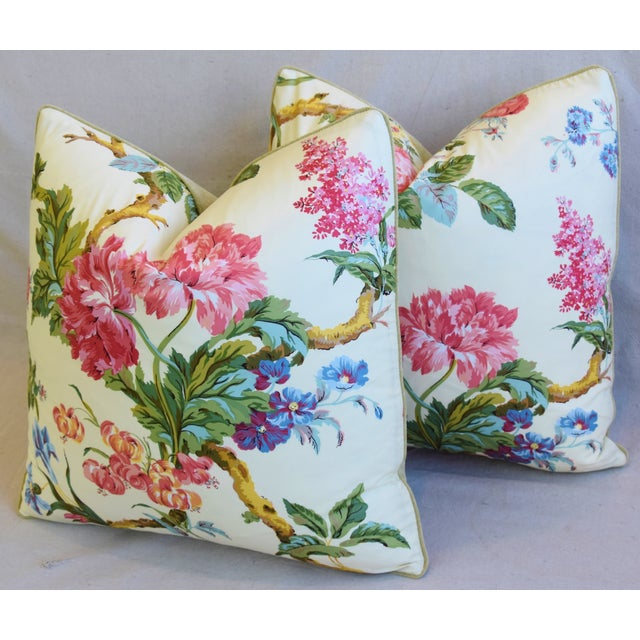"""French Brunschwig & Fils Floral Feather/Down Pillows 21"""" Square - Pair For Sale - Image 9 of 13"""