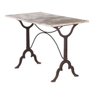 Early 20th Century French Bistro Table With Marble Top Signed E.Ringuet For Sale