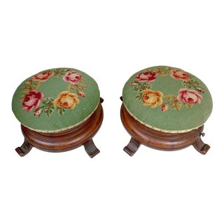 Pair of 19th C. Victorian Killian Bros. Needlepoint Ottomans For Sale