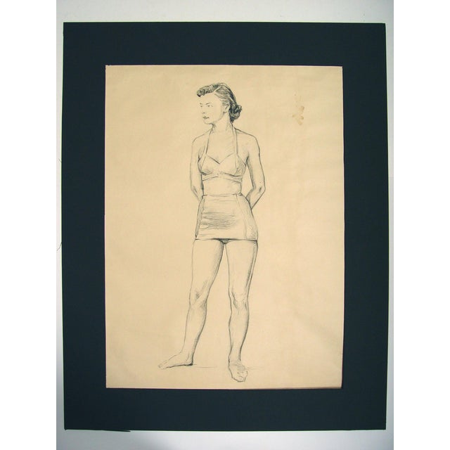 Charcoal figural study by Charles Berkeley Normann (1903 - 1985) from Texas and Norway, unsigned, circa 1950s. Unframed,...