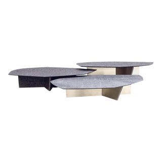 Geometrik Coffee Table Set, Satin Brass and Granite by Atra - 3 Pieces For Sale
