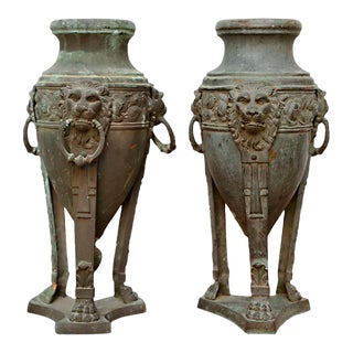 Pair of English Patinated Bronze Athenienne Form Urns, 19th Century For Sale