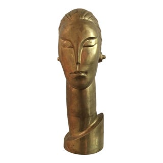 Machine Age Brass Cubist Modernist Head Sculpture For Sale