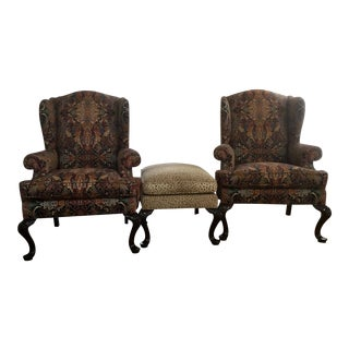Modern Henredon Wingback Chairs & Ottoman - Set of 3 For Sale