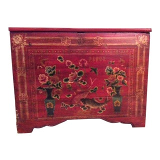 Antique Hand-Painted Red Chinese Chest/Cabinet For Sale