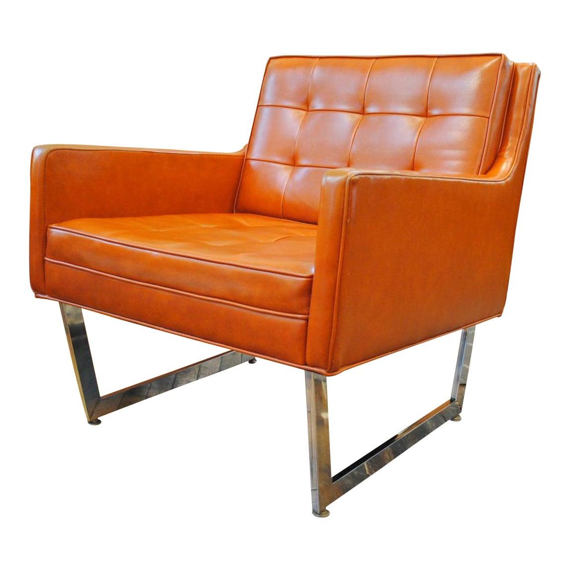 Patrician mid century modern orange club chair chairish