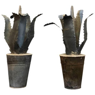 20th Century French Mid-Century Zinc Finials - a Pair For Sale