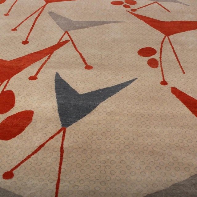 Mid-Century Modern Rug & Kilim's Mid-Century Modern Geometric Beige Gray and Red Wool and Silk Rug For Sale - Image 3 of 6