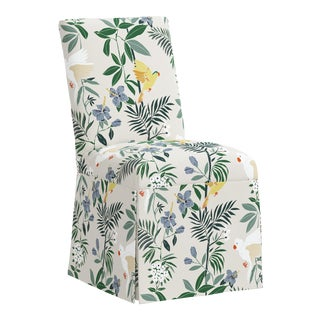 Slipcover Dining Chair in Belize Chinoiserie Cream For Sale