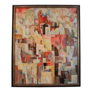 Early 20th Century Antique Harry Hutchinson Shaw Cubist Oil on Canvas Painting For Sale