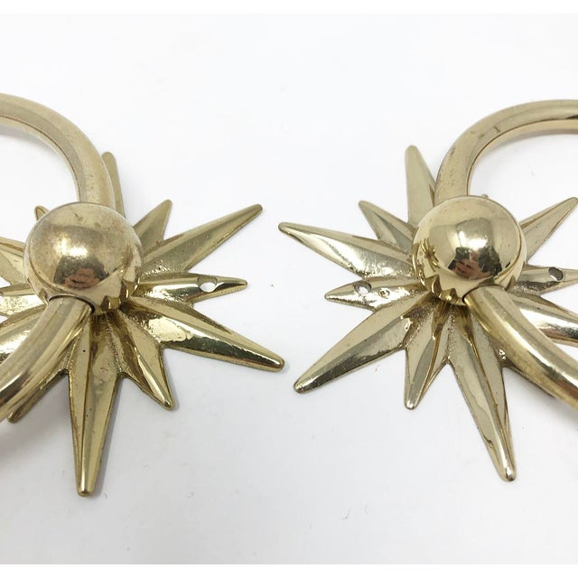 Mid-Century Starburst Hardware - a Pair For Sale - Image 4 of 10