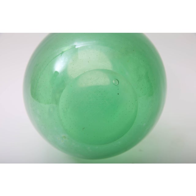 1930s Art Deco Barovier E Toso Controlled Tiny Bubbles Green Gold Murano Glass Vase For Sale - Image 9 of 10