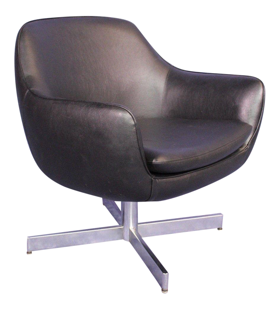 Eames Mid Century Faux Leather Black Lounge Armchair