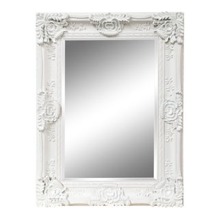 Mayfair Vintage Matte White Large Wall Mirror For Sale