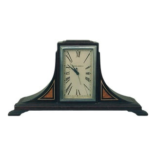 Manning Bowman Art Deco Wood and Inlay Mantle Clock For Sale