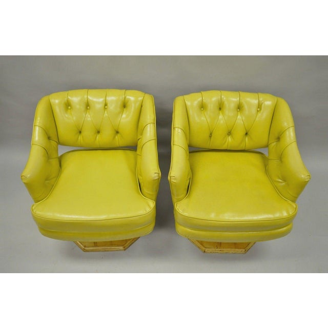 Pair Silver Craft Green Yellow Swivel Club Lounge Chairs Mid Century Modern A For Sale - Image 4 of 12