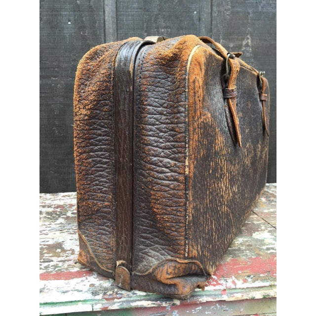 1940s Leather Strap Suitcase For Sale - Image 5 of 13