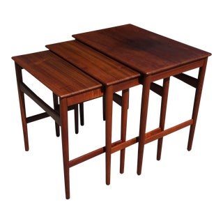 20th Century Danish Modern Povl Dinesen Solid Teak Nesting Tables - Set of 3 For Sale