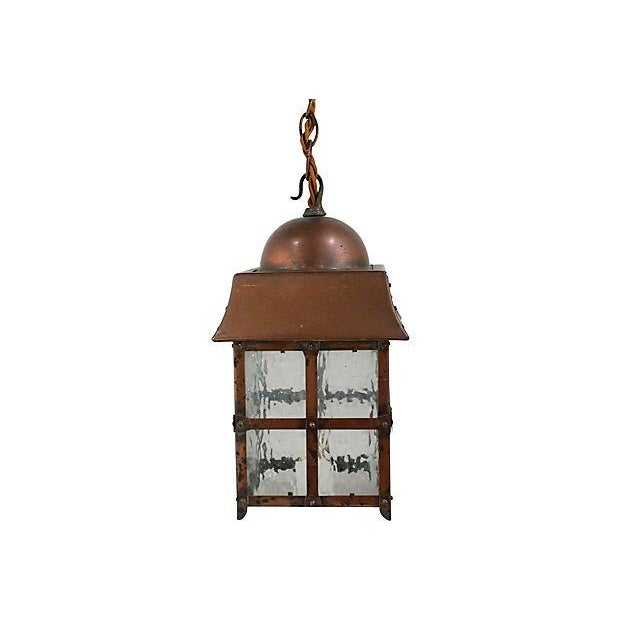 Antique Arts & Crafts Copper Lantern - Image 3 of 5