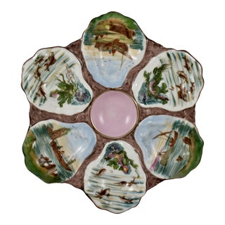 French Porcelain Hand-Painted Fishing Scene Oyster Plate For Sale