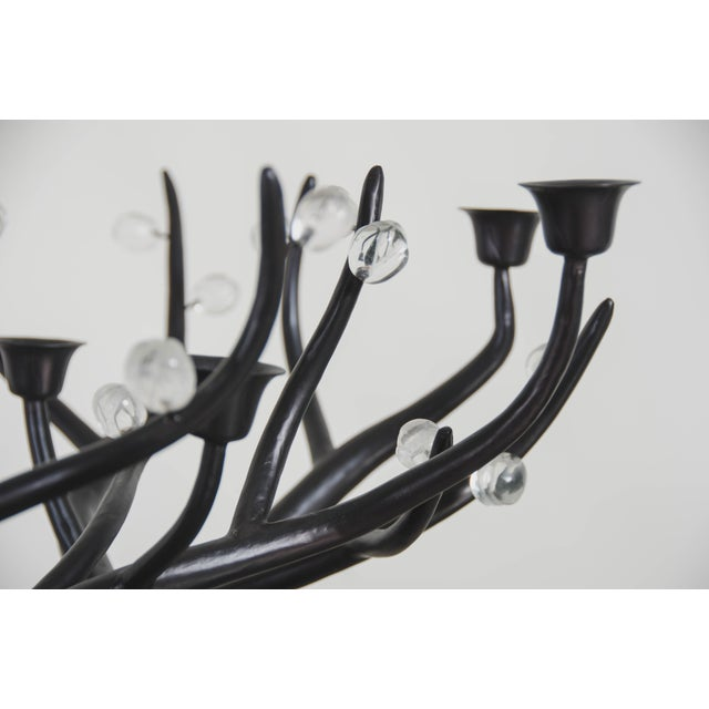 Hand Repousse Carved Black Copper and Crystal Candelabra by Robert Kuo, Limited Edition For Sale In Los Angeles - Image 6 of 8