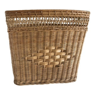 Vintage Boho Woven Wood Basket, Wastebasket For Sale