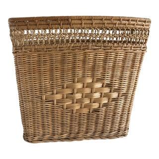 Vintage Boho Woven Wood Basket, Wastebasket