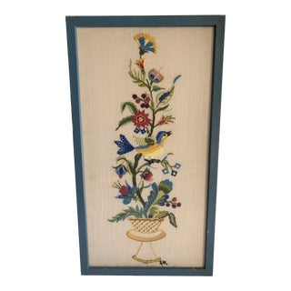 Vintage Handmade Embroidery Wall Decor For Sale