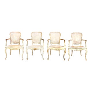 Set of 4 Antique French Painted Louis XV Style Dining Chairs
