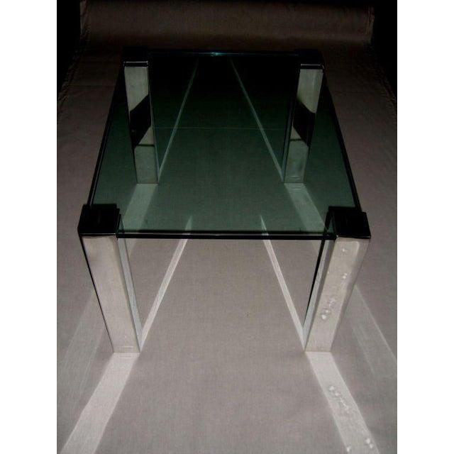 Art Deco 1964 Paul M. Jones Fm 97 Aluminum Legged Glass Table For Sale - Image 3 of 7