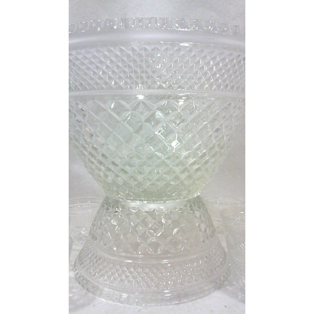 Pedestal Glass Serving Bowl and Cups - Set of 10 - Image 4 of 5