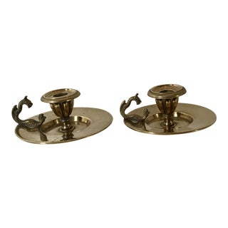 Brass Dragon Bradley & Hubbard Candle Holders - A Pair For Sale