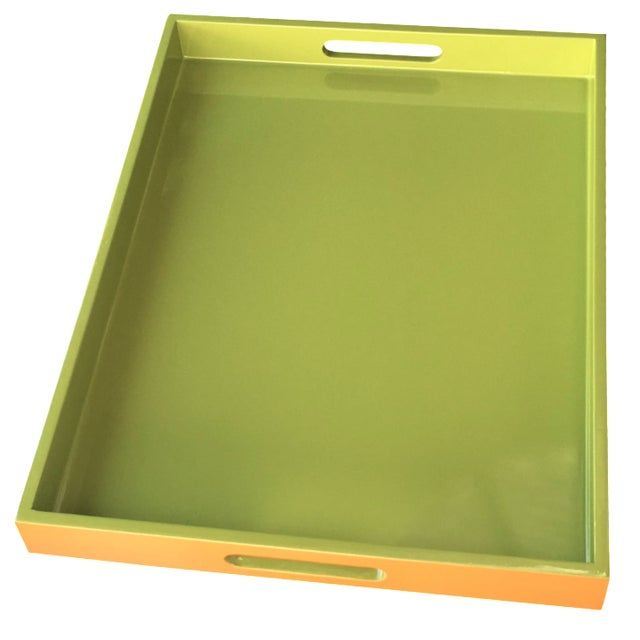 Lime Green Lacquer Tray - Image 1 of 8
