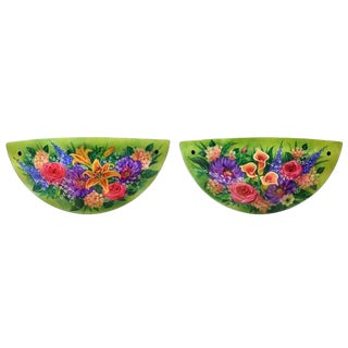 """Ulla Darni Signed Sconce """"Green Floral"""" - a Pair For Sale"""