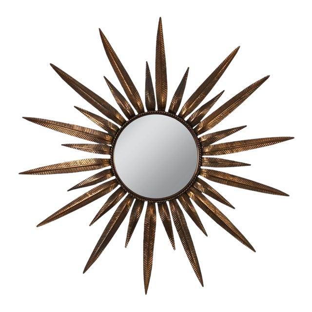 Copper-Plated Sunburst Mirror For Sale