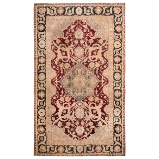 Antique Agra Burgundy and Gold Wool Rug with All-Over Floral Patterns For Sale