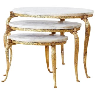Nest of Italian Doré Bronze and Marble Drink Tables For Sale