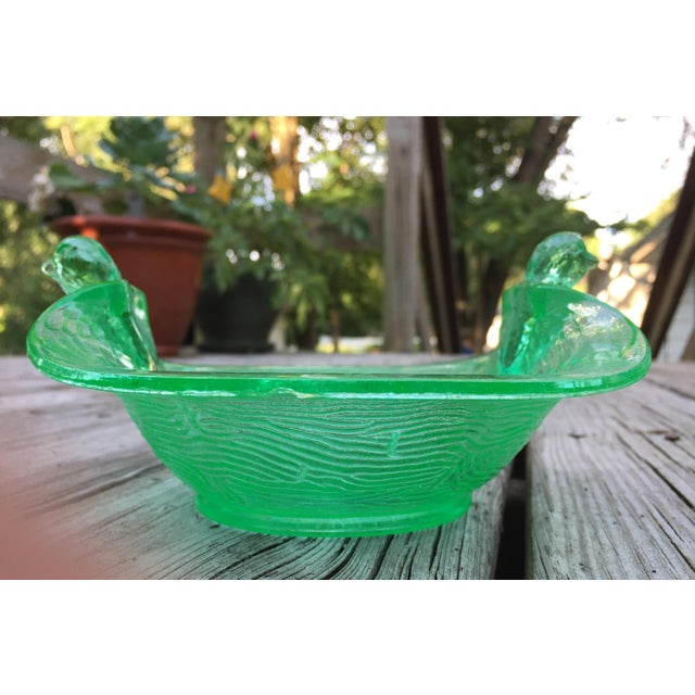 Green Depression Glass Art Nouveau Bird Bowl - Image 5 of 8