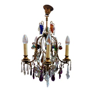Antique Italian French Crystal Directoire 5 Arm 6 Light FRUIT Grape CHANDELIER Murano