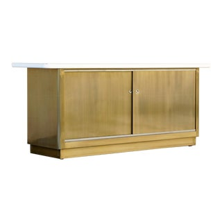 Custom Tanker Style Steel Credenza in Brass and White Finish - Custom Made to Order For Sale