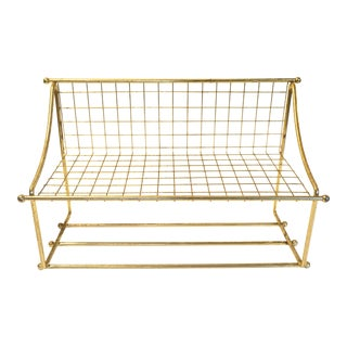 Mid-Century Gold Metal Wall Shelf + Towel Rack | Industrial Chic Wall Storage and Display For Sale