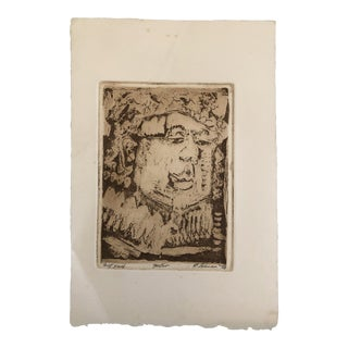 1973 Robert Lohman Indiana Artist Portrait Etching For Sale