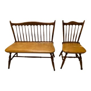 Vintage Dinaire Bench and Chair - A Pair For Sale