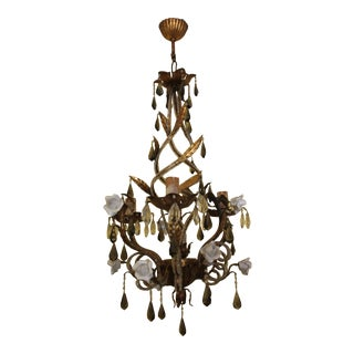 1940s French Hollywood Regency Gilt Tole W/ Beaded Crystal & Porcelain Rose Chandelier by Maison Bagues For Sale